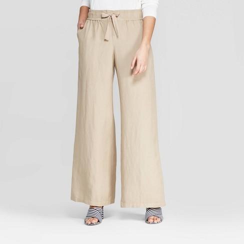 Women's Regular Fit High-Rise Wide Leg Linen Pants - A New Day™ - image 1 of 3