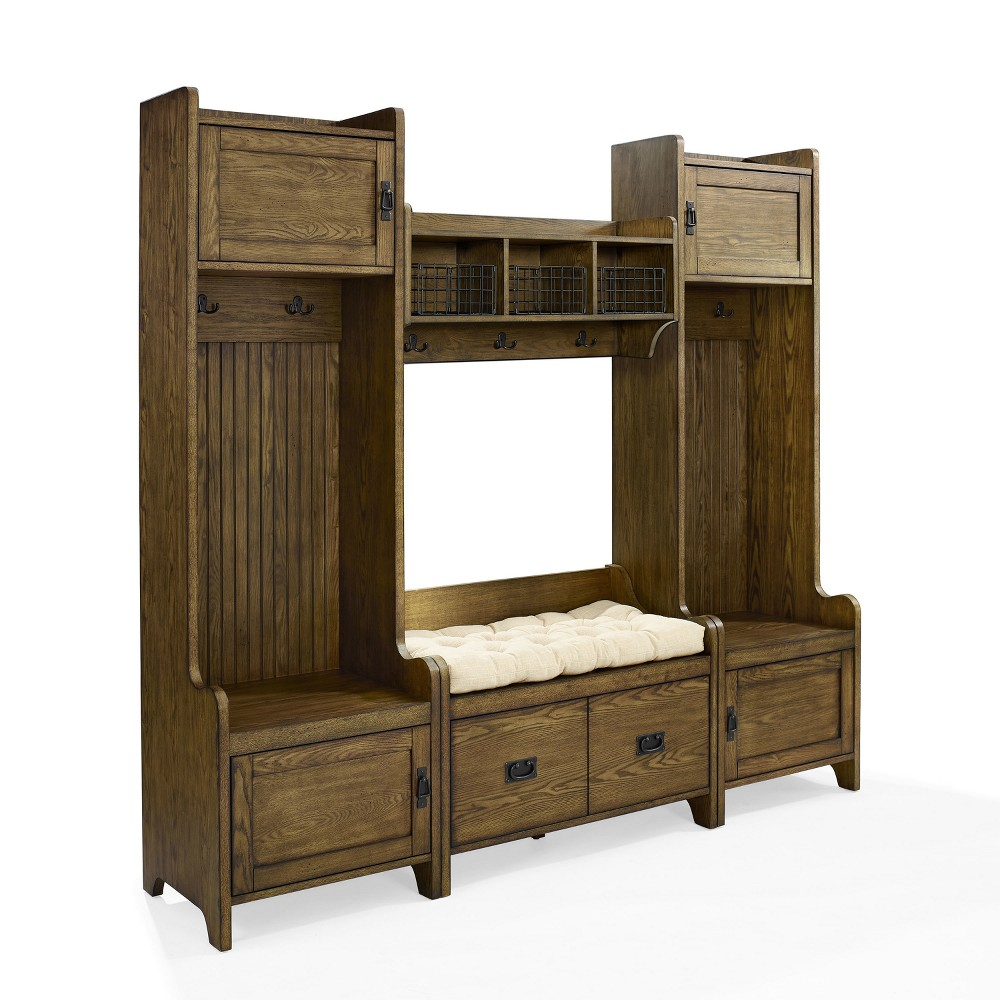 Image of 4pc Fremont Entryway Kit Two Towers Bench and Shelf Coffee - Crosley