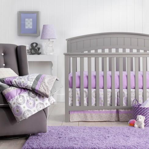 Trend Lab 3pc Crib Bedding Set, Grey And Purple Crib Bedding
