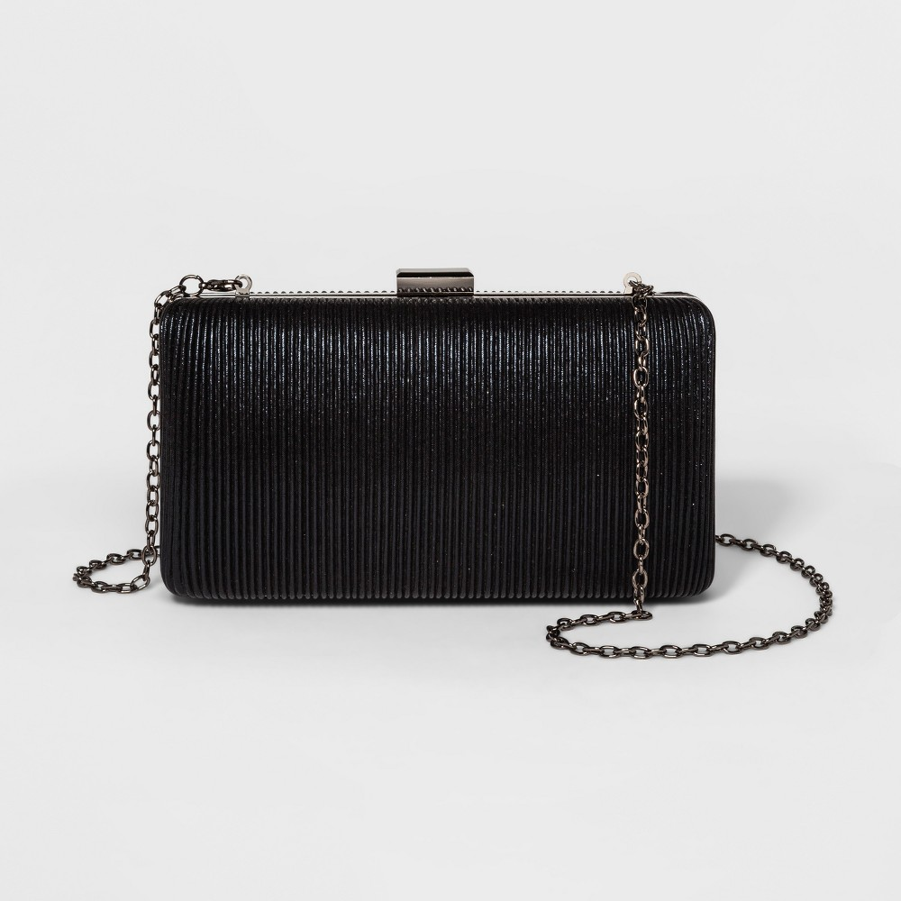 Image of Estee & Lilly Corded Shimmer Minaudiere Clutch - Black, Women's