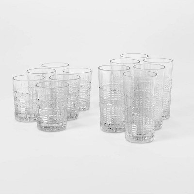 12pc Glass Assorted Beveled Tumblers - Threshold™
