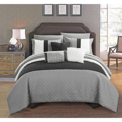 Queen 10pc Arza Bed In A Bag Comforter Set Gray - Chic Home Design