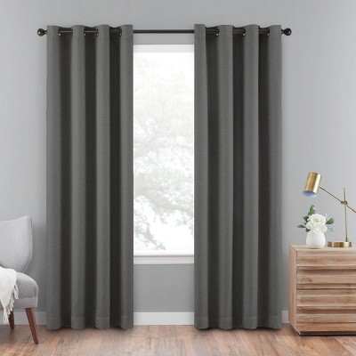 "95""x50"" Cara Absolute Zero Blackout Window Panel Charcoal - Eclipse"