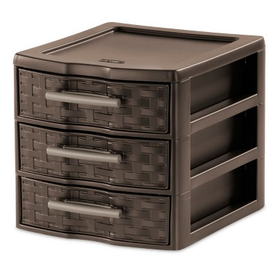 Sterilite 3 Drawer Small Countertop Weave Unit Espresso