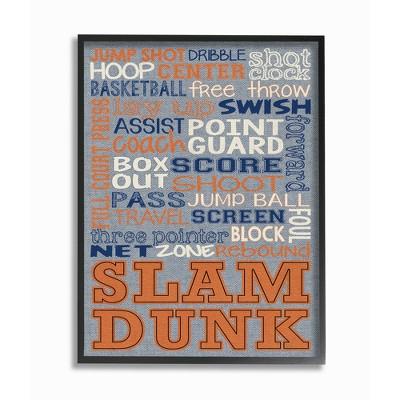 Basketball Denim Feel Framed Giclee Texturized Art - Stupell Industries