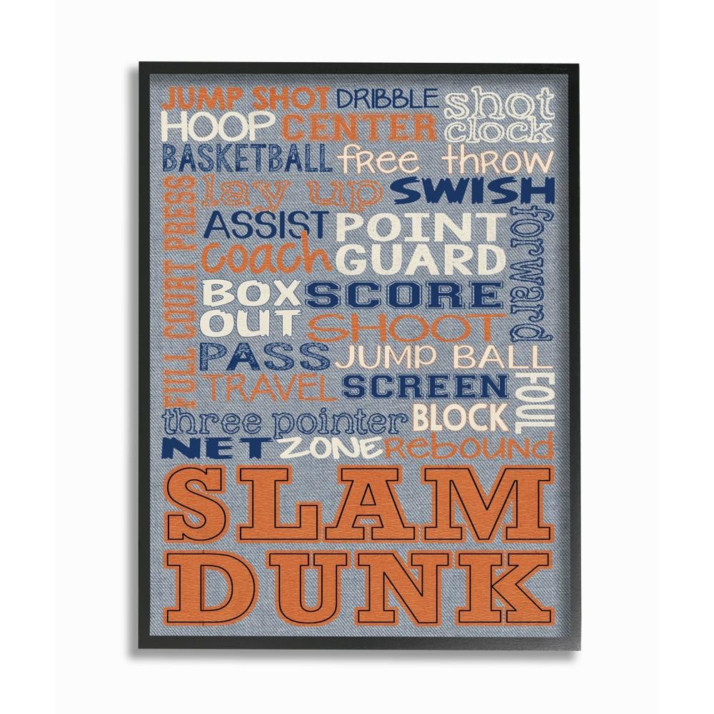 Basketball Denim Feel Framed Giclee Texturized Art - Stupell Industries, Black Blue