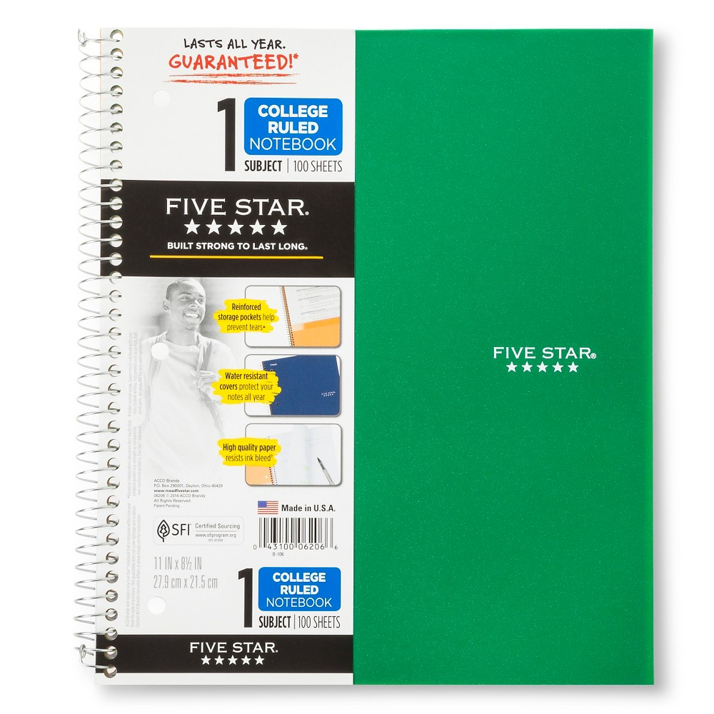 Image of Five Star 1 Subject College Ruled Spiral Notebook - Green