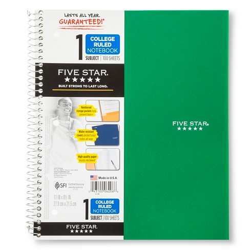 five star college ruled wirebound 1 subject notebook target
