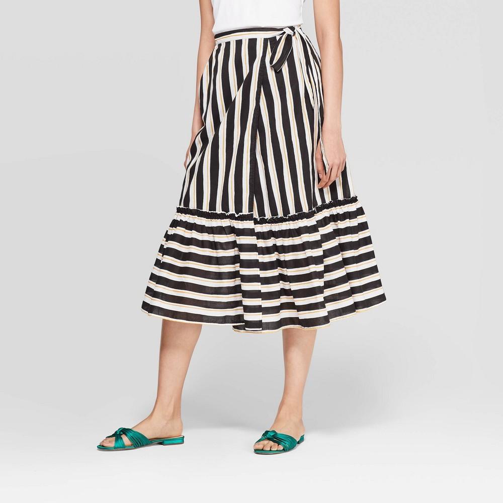 682d1e3e050 Womens Striped Ruffled Hem Tie Waist Midi Skirt Who What Wear BlackYellow 12