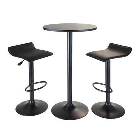 Remarkable 3 Piece Obsidian Bar Height Pub Table Set With Air Lift Adjustable Stools Wood Black Winsome Interior Design Ideas Greaswefileorg