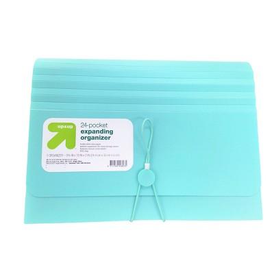 24 Pocket Expanding File Folder Organizer Letter Size Teal - up & up™