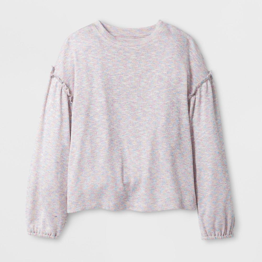 Girls' Sweater Long Sleeve Knit Top - art class Ivory S