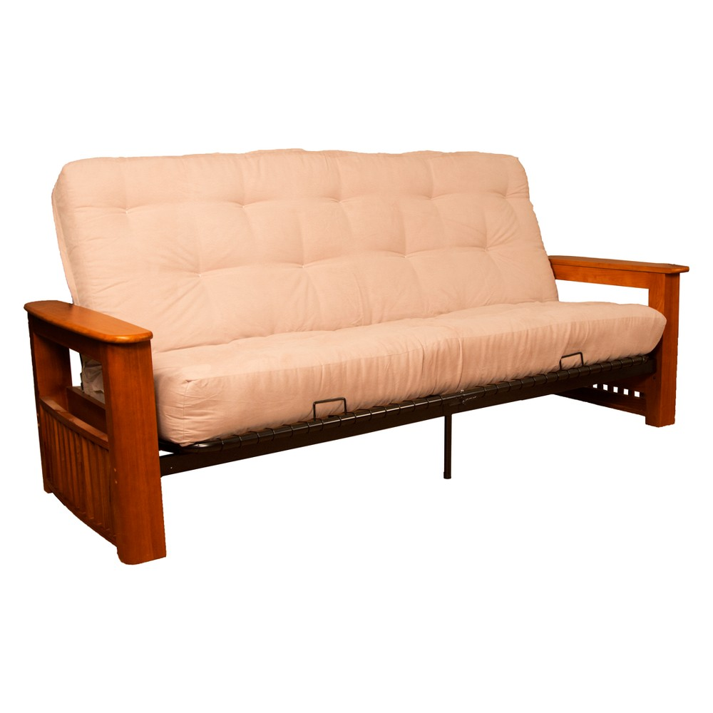 Flip Top Arm 8 Inner Spring Futon Sofa Sleeper Walnut Wood Finish Sand (Brown) - Epic Furnishings