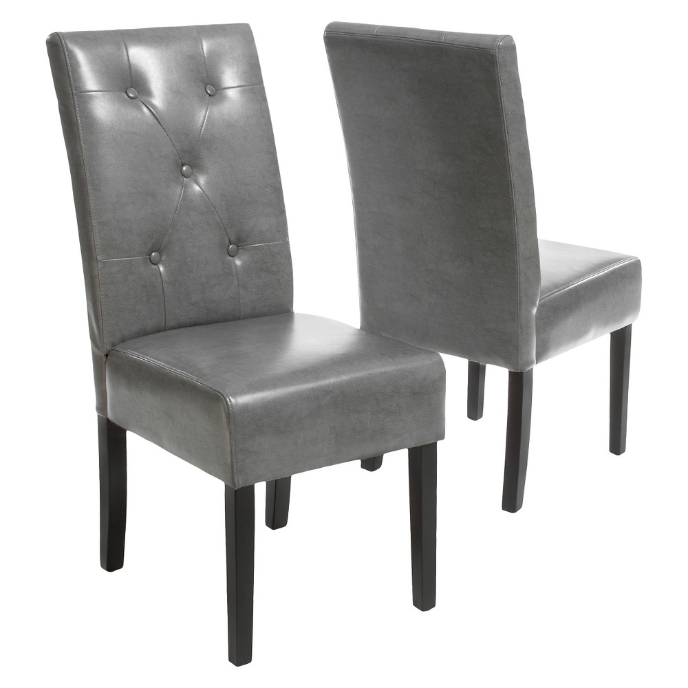 Taylor Bonded Leather Dining Chairs - Dark Gray (Set of 2) - Christopher Knight Home