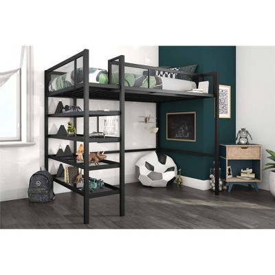 Tara Metal Storage Loft with Bookcase Black - Room & Joy