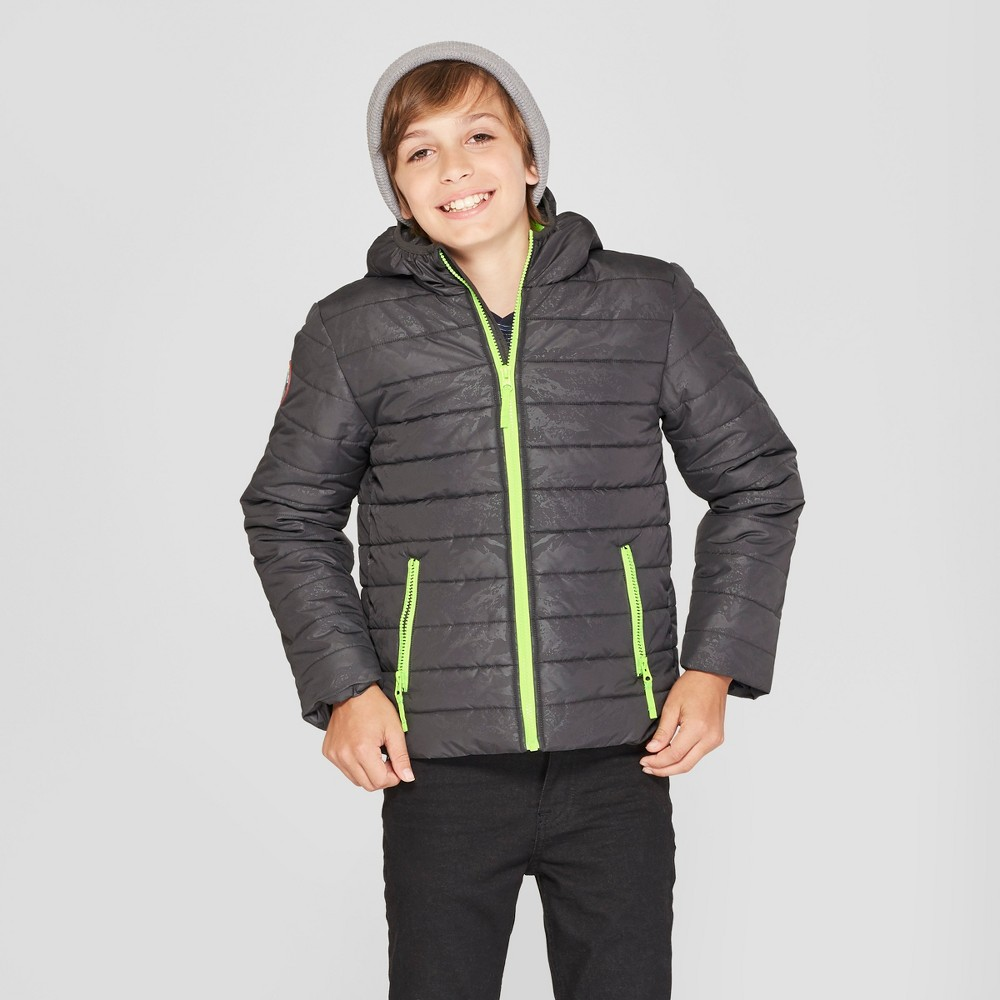 Boys' Puffer Hooded Jacket - Cat & Jack Charcoal XL, Gray