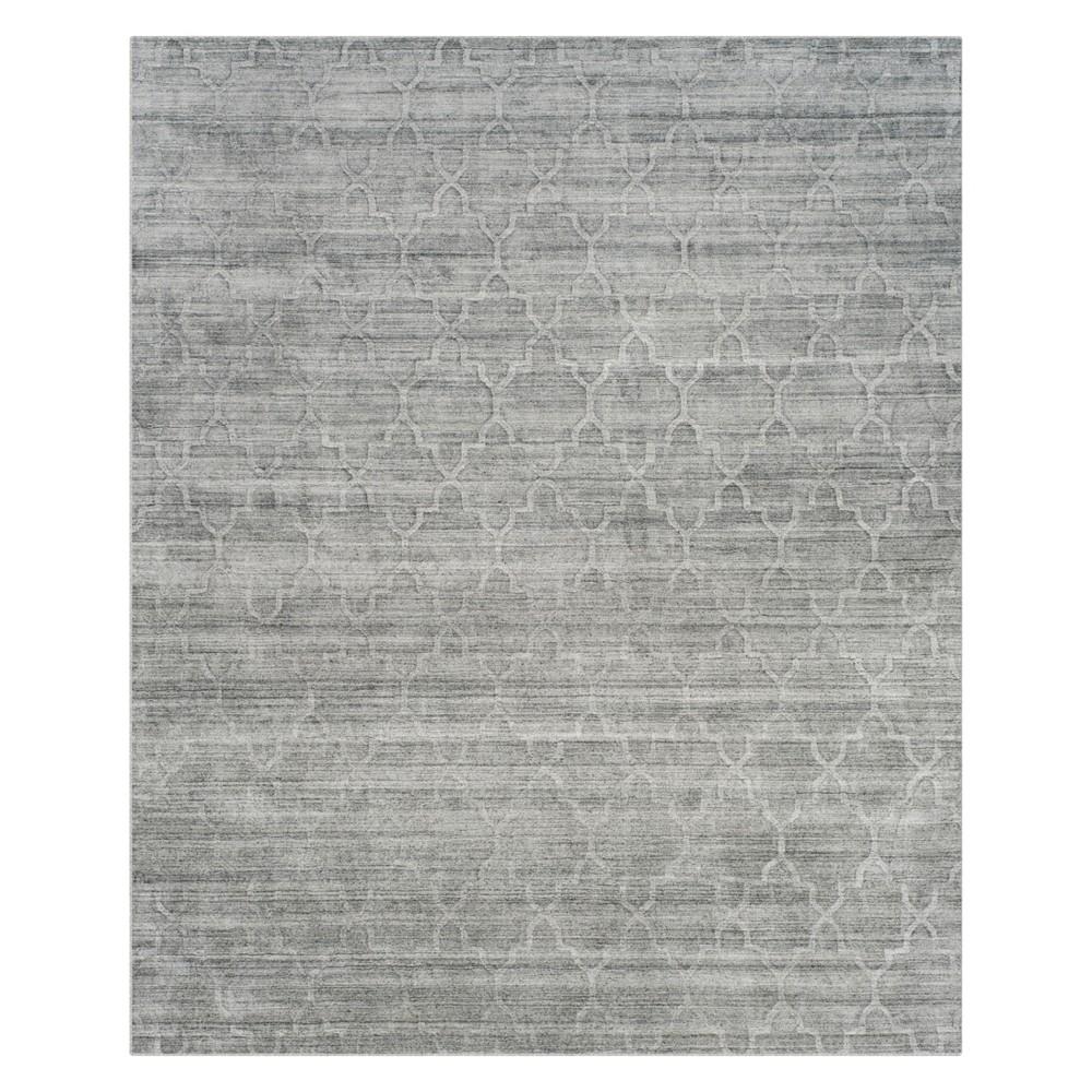 8'X10' Quatrefoil Design Knotted Area Rug Gray - Safavieh