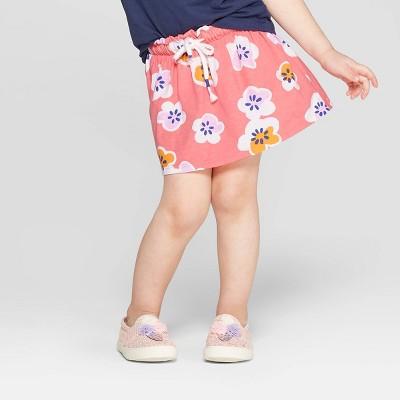 Toddler Girls' Floral Skort - Cat & Jack™ Peach 12M