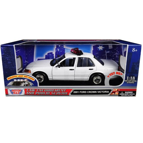 2001 Ford Crown Victoria Police Car Plain White w/ Flashing Light Bar, Front & Rear Lights & Sounds 1/18 by Motormax - image 1 of 1