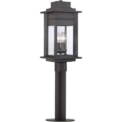 """Franklin Iron Works Rustic Outdoor Post Light Fixture LED Black Specked Gray 31 1/2"""" Clear Glass for Exterior Garden Yard Driveway"""