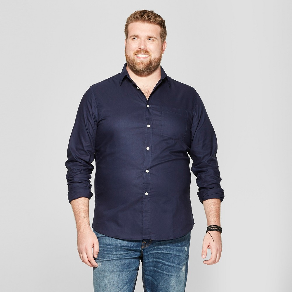 Men's Big & Tall Standard Fit Whittier Oxford Brushed Long Sleeve Collared Button-Down Shirt - Goodfellow & Co Xavier Navy 5XBT