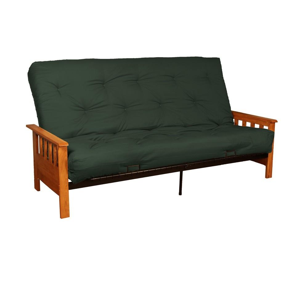 Mission 8 Cotton/Foam Futon Sofa Sleeper - Walnut Wood Finish - Forest (Green) - Queen Size - Sit N Sleep