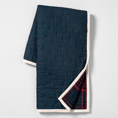 Reversible Throw Blanket Blue Plaid - Hearth & Hand™ with Magnolia