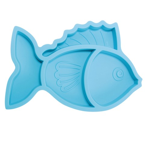 "Brinware Silicone Divided Baby Plate 10"" x 6.5"" Fish - Blue - image 1 of 3"
