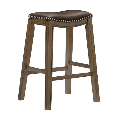 Homelegance 29-Inch Pub Height Wooden Bar Stool with Solid Wood Legs and Faux Leather Saddle Seat Kitchen Barstool Dinning Chair, Brown