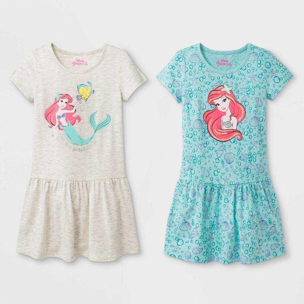 Toddler Girls 2pk Disney Princess Ariel T-Shirt Dresses - White/Turquoise 2T Price