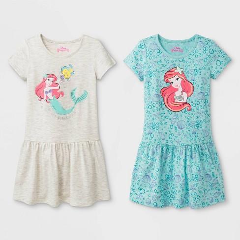 Toddler Girls' 2pk Disney Princess Ariel T-Shirt Dresses - White/Turquoise - image 1 of 1
