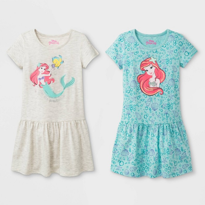 Toddler Girls' 2pk Disney Princess Ariel T-Shirt Dresses - White/Turquoise - image 1 of 1