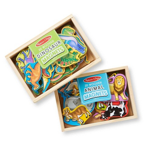 Melissa & Doug Wooden Magnets Set - Animals and Dinosaurs With 40 Wooden Magnets - image 1 of 4