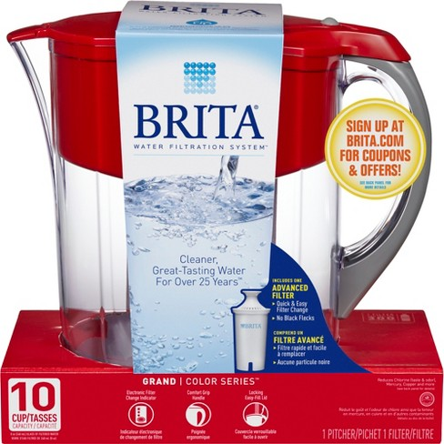 36a965c1894 Brita Large 10 Cup BPA Free Water Pitcher With 1 Standard Filter - Red    Target