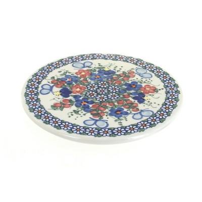 Blue Rose Polish Pottery Garden Butterfly Trivet