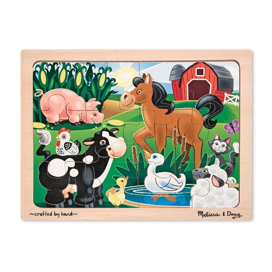 Melissa & Doug Wooden Jigsaw Puzzles Set: Vehicles, Pets, Construction, and Farm 4 puzzles 48pc image number null