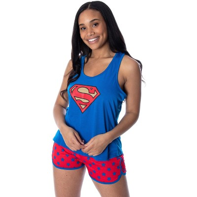 Dc Comics Women's Superman Classic Logo Racerback Tank Shorts Pajama Set