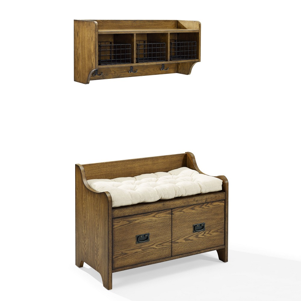 Image of 2pc Fremont Entryway Kit Bench and Shelf Coffee - Crosley