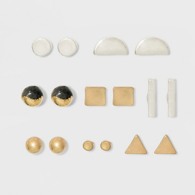 Geometric with Semi-Precious Labradorite Stone Button Earring Set 8ct - Universal Thread™