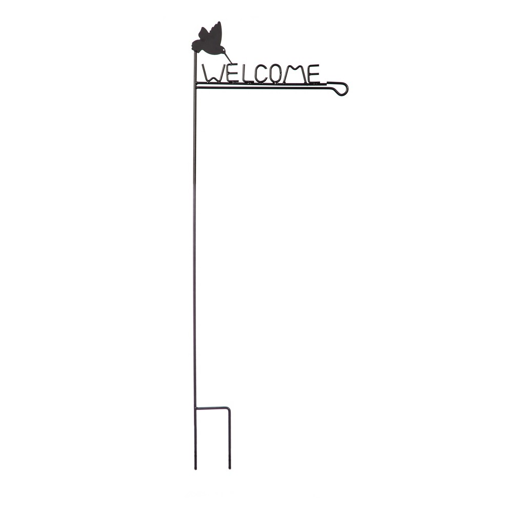 """Image of """"44"""""""" Metal Flag Pole With Welcome Sign - Evergreen"""""""