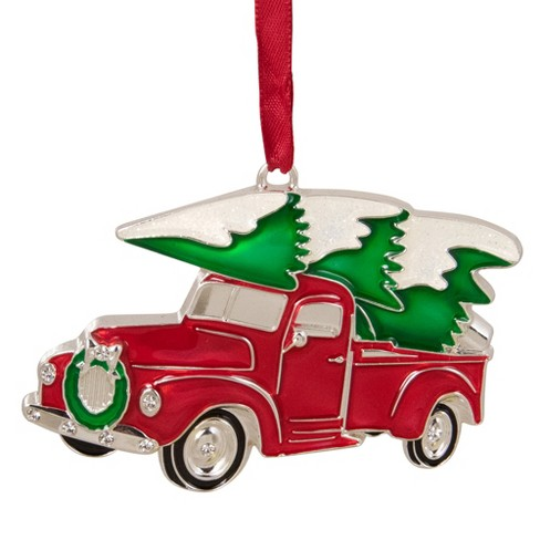 "Northlight 3.5"" Red and Silver Country Pick Up Truck with European Crystals Christmas Ornament - image 1 of 4"