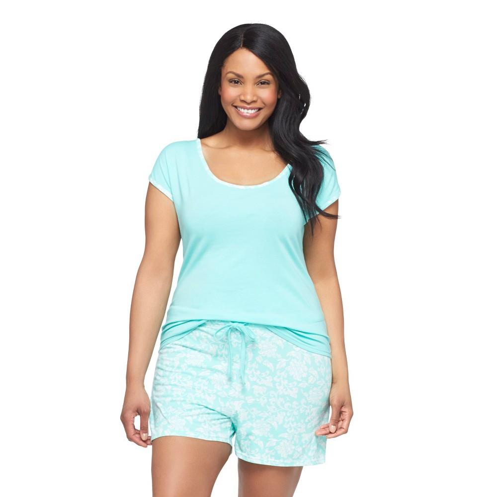Hanes Premium Women's Plus-Size T-Shirt/Short Pajama Set Mint Green Floral, Size: 2XL