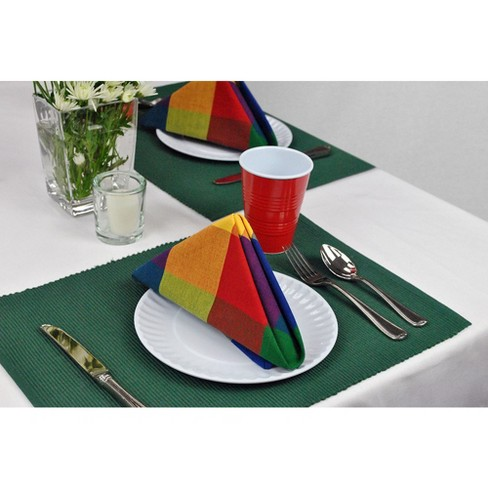 Set Of 6 Nautical Ribbed Placemat Blue
