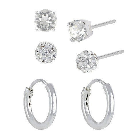 Women S Sterling Silver Set Of 3 Fireball Stud Earrings And Endless Hoop Clear