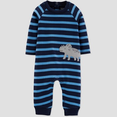 Baby Boys' Dino Stripe Jumpsuit - Just One You® made by carter's Blue 12M