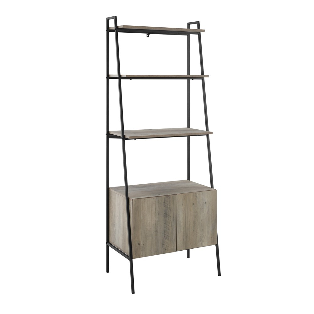 72 Sandra Metal and Wood Ladder Storage Bookshelf with Cabinet Gray Wash - Saracina Home was $219.99 now $164.99 (25.0% off)