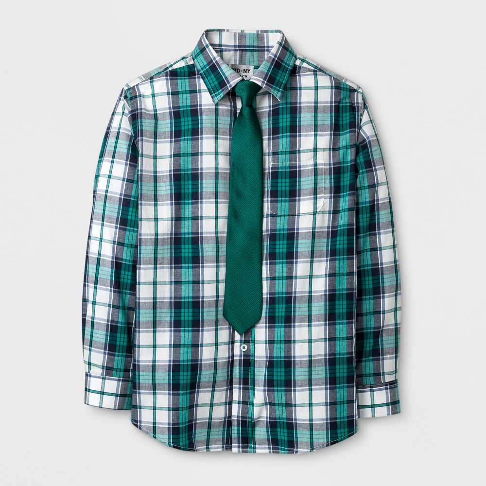 Boys' Long Sleeve Plaid Button-Down Shirt With Tie - WD.NY Black - Green M, Blue