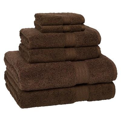 6pc Signature Solid Bath Towel Set Dark Brown - Cassadecor