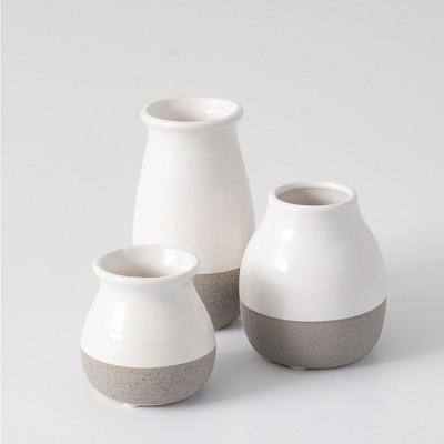 """Sullivans Set of 3 Petite Ceramic Vases 3""""H, 4.5""""H & 5.5""""H"""