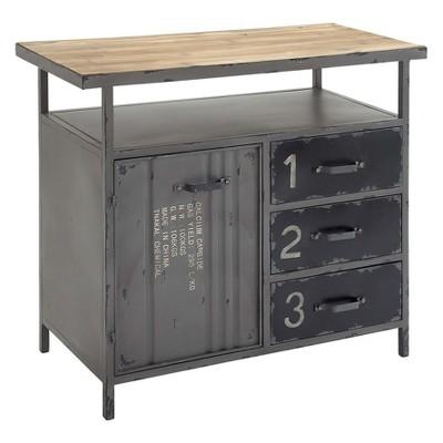 Beau Metal Utility Cabinet With Wood Top Steel Gray   Olivia U0026 May : Target